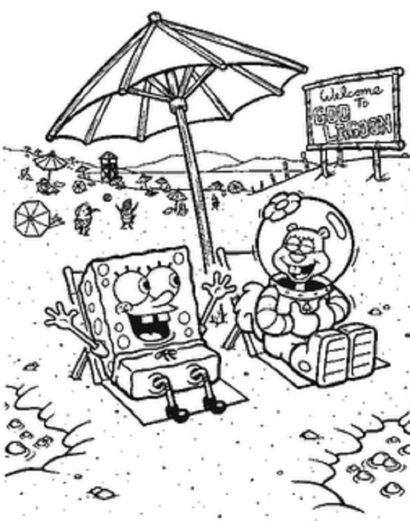 Bob Esponja y Arenita en la playa