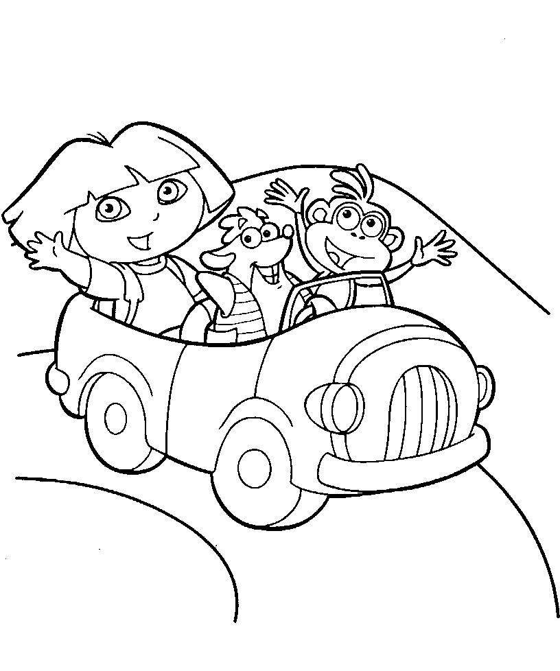 Dora y sus amigos en el coche