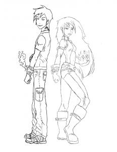 Ben y Gwen dibujos para colorear de ben 10