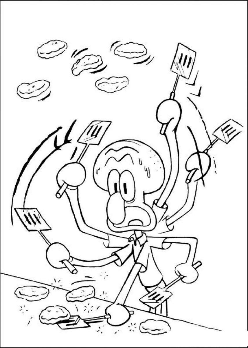 Dibujo para colorear de Calamardo cocinando de la serie Bob Esponja