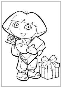 Dora la exploradora con Mochila y muchos regalos