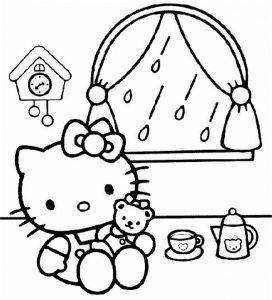 Dibujo para colorear de Hello Kitty en casa y lloviendo