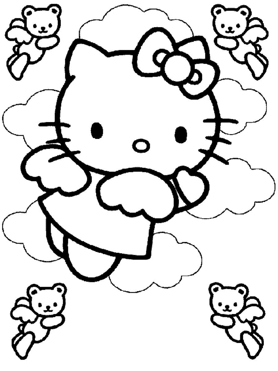 Dibujo para colorear de Hello Kitty es un angelito