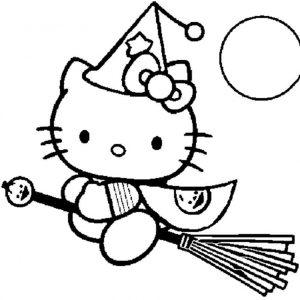 La bruja Hello Kitty con su escoba
