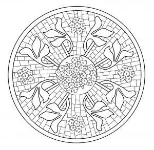 Mandala Mosaico con flores