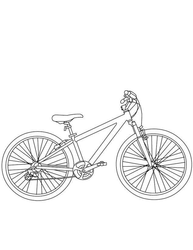 Bicicleta de marchas para colorear