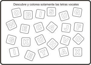 Dibujo didáctico para colorear vocales