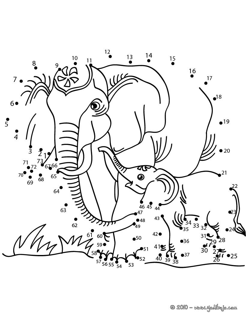 Elefantes para unir por puntos