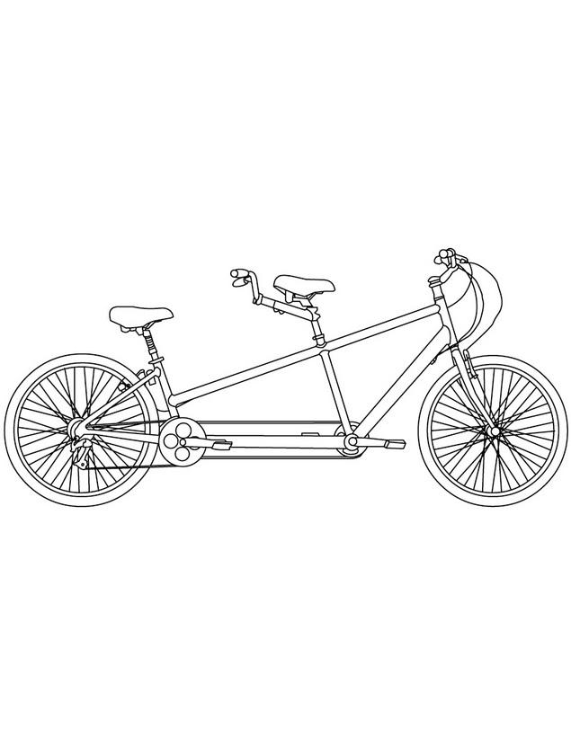 Dibujo para colorear de un Tandem, bicicleta para dos personas