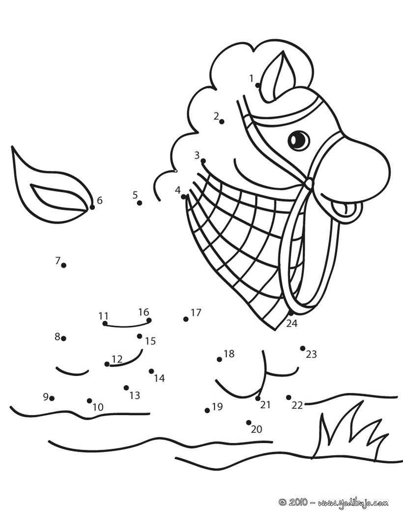 dibujo de caballo para unir por puntos