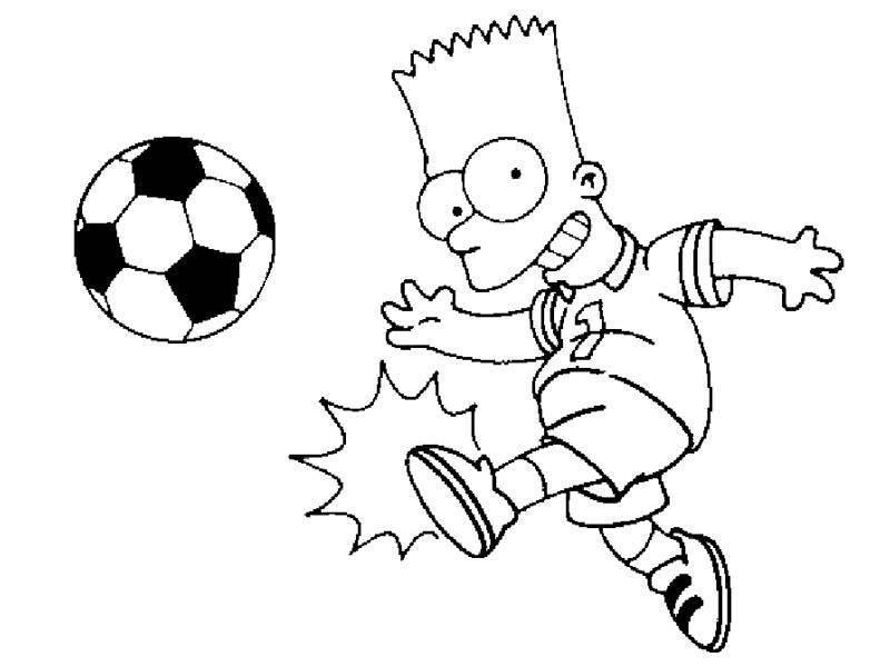 Dibujo Para Imprimir Y Colorear De Bart Simpson Jugando Al