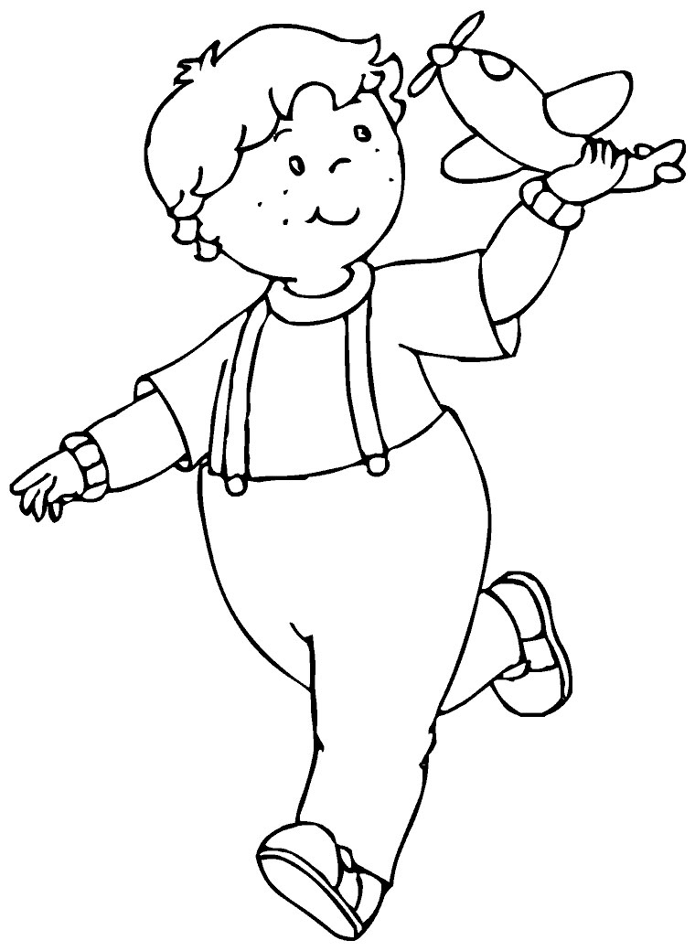 Dibujo para colorear de Caillou jugando  con el avión