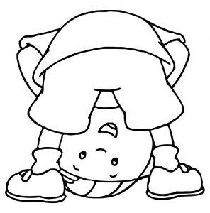 Dibujo de Caillou para colorear haciendo el mono