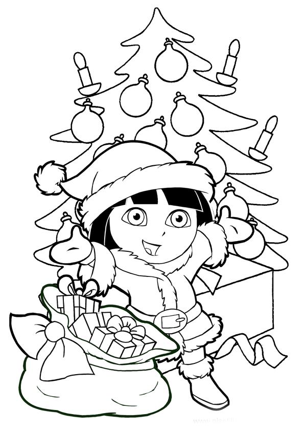 Dibujo para imprimir y colorear de Dora la Exploradora árbol de Navidad