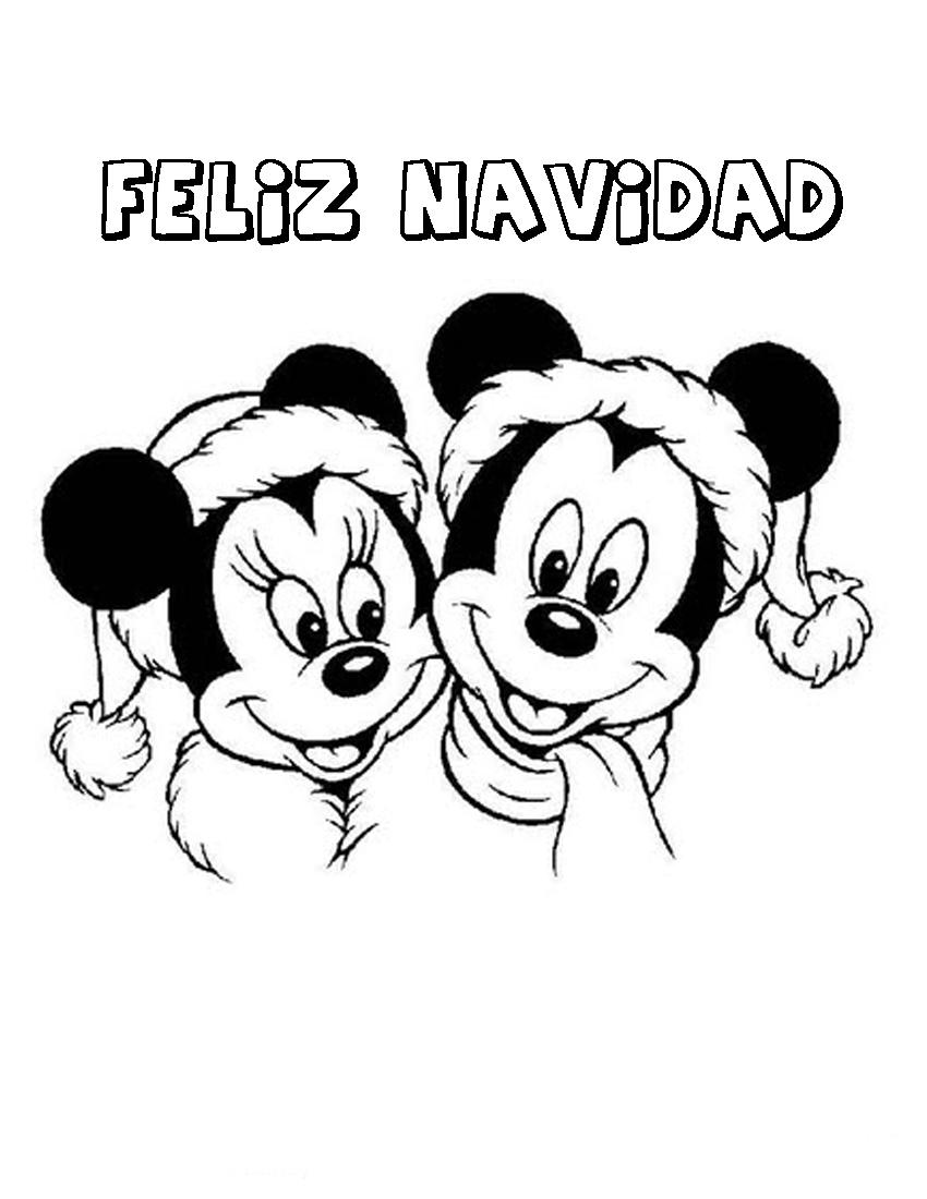 Dibujo Para Imprimir Y Colorear De Feliz Navidad Mickey Y Minnie