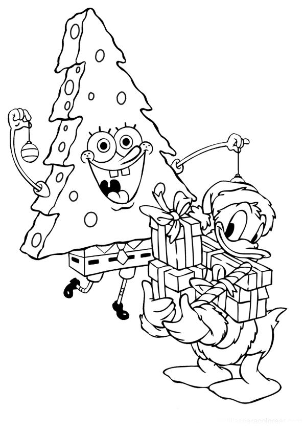 Dibujo Para Imprimir Y Colorear De Bob Esponja Navidad