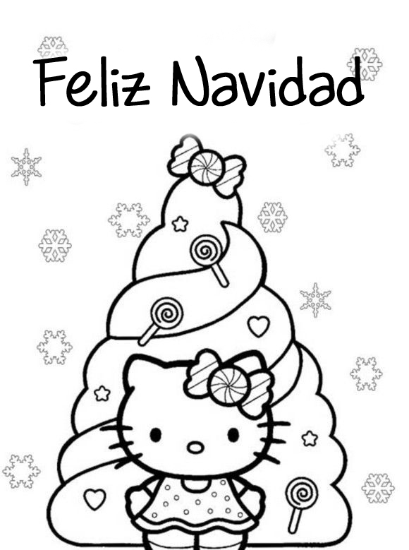 Dibujo para imprimir y colorear de Feliz Navidad Hello Kitty