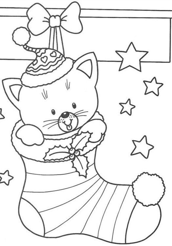 Dibujo para imprimir y colorear de Gatito en Bota de Navidad