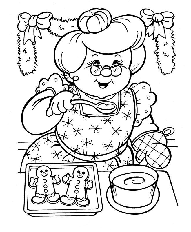 Dibujo para imprimir y colorear de Abuelita haciendo galletas de ...